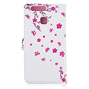 Huawei P9 case [With Tempered Glass Screen Protector],Grandoin Retro Leather Folio Bumper Case ,Excellent Quality Colorful Elegante Pattern Design Premium PU Closure Exact Fit Strap Leather Wallet Protective Flip Case Cover for Huawei P9 with [Credit Card