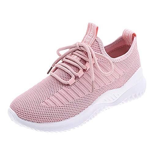 Damen Sportschuhe Fliegen Weben Sneaker Socken Schuhe Turnschuhe Freizeitschuhe Student Schnürschuhe Laufschuhe, Rosa