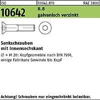 Innensechskant M 8 x 70 10x ISO 10642 Senkschrauben 8.8 galvanisch verzinkt