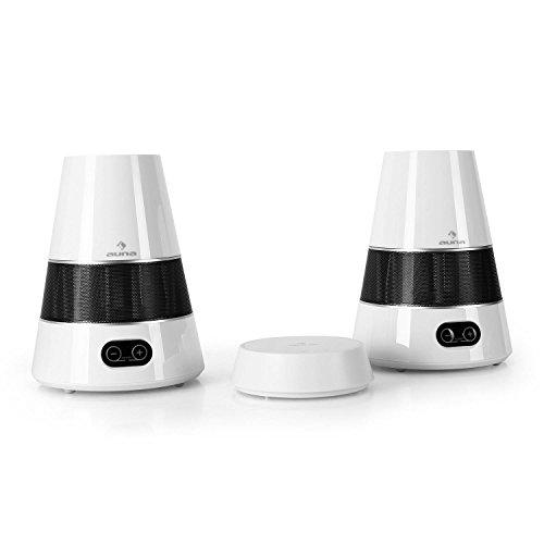 auna • WH4080 • Funk-Lautsprecher • Wireless Speaker • kabellose Audio-Signalüberragung • 863 MHz-UHF-Signal • 2 x 250 Watt • bis zu 100 Meter Übertragungsreichweite • zuschaltbarer Bass-Boost • Netz- und Batteriebetrieb • modernes Design • weiß