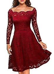 MIUSOL Damen Vintage 1950er Off Schulter Cocktailkleid Retro Spitzen Schwingen Pinup Rockabilly Kleid Rot L