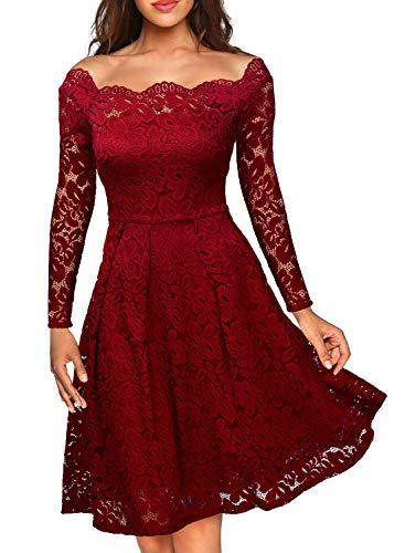 Miusol Damen Vintage 1950er Off Schulter Cocktailkleid Retro Spitzen Schwingen Pinup Rockabilly Kleid Rot Gr.M