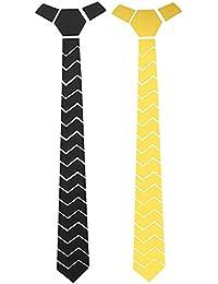 Sorella'z Reversible Black & Golden Acrylic Hex GrandPrix Pattern Necktie