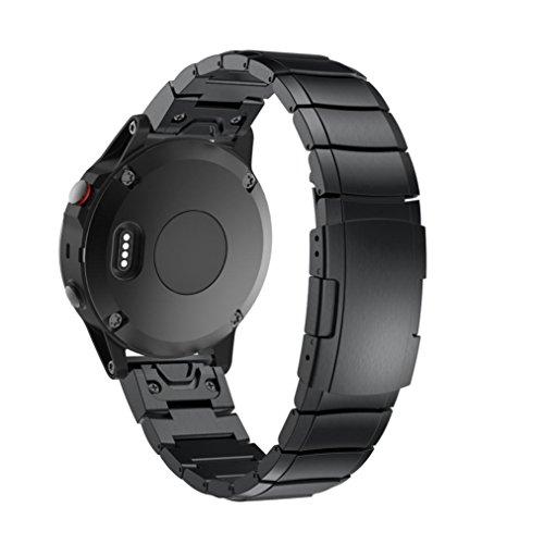 SHOBDW Armband für Garmin Fenix 5 & Forerunner 935 - 22 mm, Quickfit-Wechselarmband Ersatz Replacement band , Echtes Edelstahl-Armband Schnelles Wiedereinbau-Sitz-Band-Bügel Wristband Uhr Verstellbar (Schwarz-1, für Garmin Fenix 5)