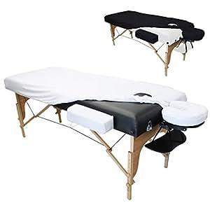 Vivezen ® Drap housse de protection 4 pièces en éponge pour table de massage 10 à 13 cm d'épaisseur - 2 coloris - Norme CE
