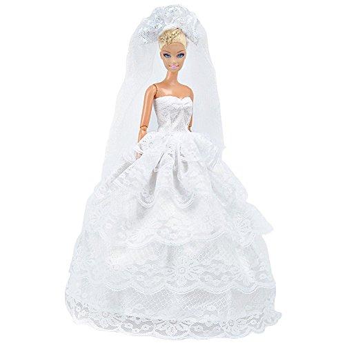 rty-Kleid Hochzeit Kleid Puppenkleidung mit Schleier für Barbie-Puppen ()