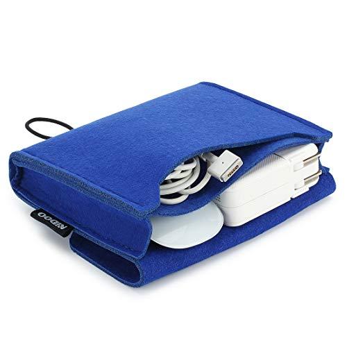 NIDOO Filz Lagerung Beutel Tasche Fall Case für MacBook Power Adapter, Maus, Handy, Kabel, SSD, HDD Gehäuse, Power Bank und mehr Zubehör, Blau