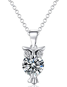MESE London Diamant-Eulen-Halsketten-Silber-Anhänger - Elegante Geschenkbox