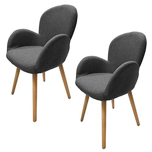 MCTECH® 2x Stuhl Esszimmerstühle Esszimmerstuhl Stuhlgruppe Konferenzstuhl Küchenstuhl Armlehne Büro mit Eiche Bein (Type G, Grau)