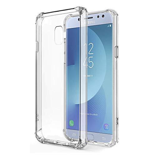 ZhuoFan Coque Samsung Galaxy J5 2017, Etui en Silicone Transparente Antichoc Coussin d'Air aux Coins TPU Gel Housse de Protection Case Cover Bumper Coque pour Telephone SamsungJ5, Transparent