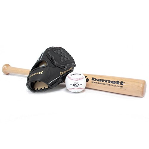 Barnett Bgbw-3 Kit Baseball Mazza In Legno, Guanto, Palla Youth (Bb-W 24, Jl-102, Bs-1) - Batting Guanto Set