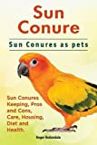Sun Conure. Sun Conures as Pets. Sun Conures Keeping, Pros and Cons, Care, Housing, Diet and Health.