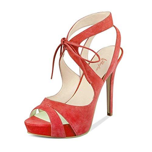 SHOFOO - Femmes - Stiletto - Cuir de daim synthétique - Bride de cheville - Rose ou Rouge ou Jaune - Talon aiguille - Bout rond ouvert Rouge