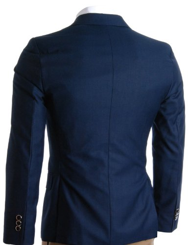 FLATSEVEN Homme Slim Fit Premium Blazer Veste blue