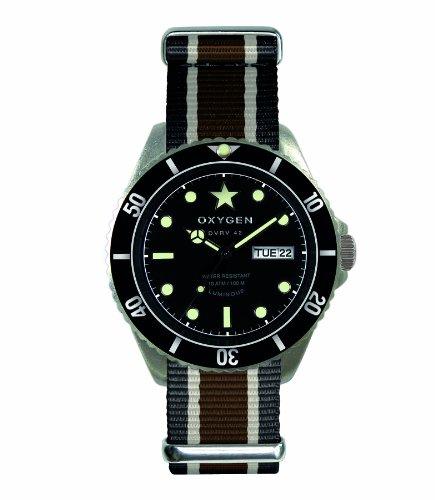 Oxygen - EX-DV-CIG-41-BLIVBR - Diver Vintage - Montre Homme - Quartz Analogique - Cadran Noir - Bracelet Nylon Multicolore