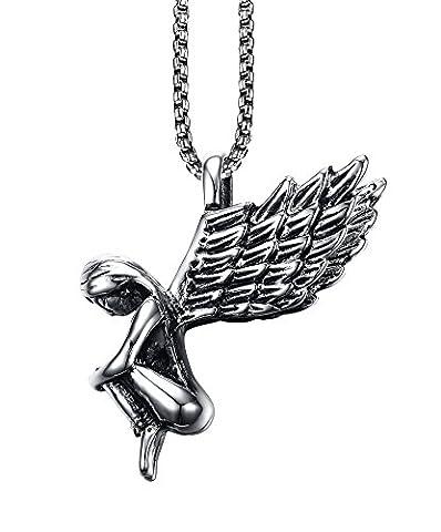 Vnox Men's Women's Stainless Steel Guardian Angel Necklace Wing Pendant,Free 50cm Chain