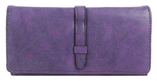 Kukubird Elegante Ecopelle Design Minimalista Con Cinghia Anteriore Dettaglio Ladies Borsa Clutch Wallet Purple