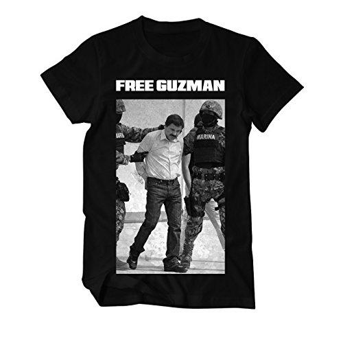 Free Guzman El Chapo Drogenbaron Fun T-Shirt Herren Schwarz