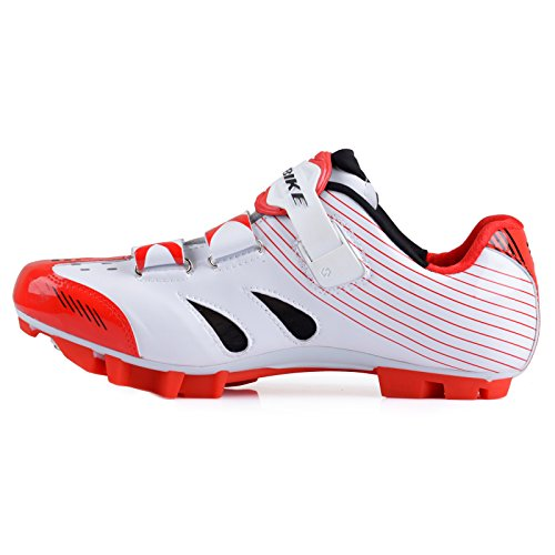 SIDEBIKE VTT Cyclisme Chaussures Hommes et Dames Mountainbike Chaussures Blanc Rouge