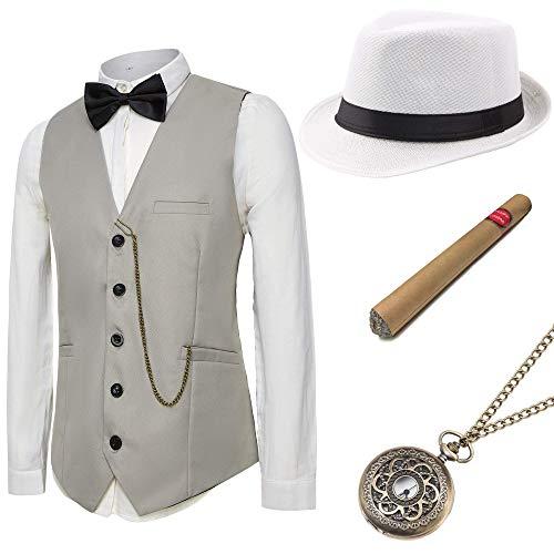 Coucoland 1920s Accessoires Herren Mafia Gatsby Kostüm Set inklusive Panama Gangster Hut Herren Weste Halsschleife Fliege Taschenuhr und Plastik Zigarre (Grau, L)