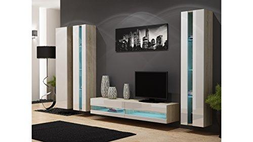 BMF New Vigo VI Wohnwand Wohnwand in matt & Hochglanz–TV-Schrank Sonoma Oak / White