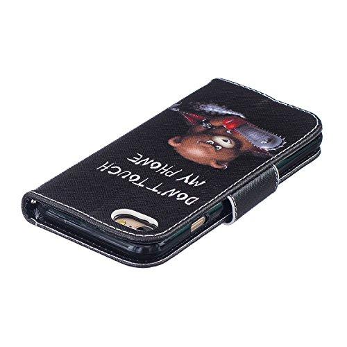 iPhone 7 Hülle,iPhone 7 Case,iPhone 7 Cover - Felfy PU Ledertasche Strap Flip Standfunktion Magnetverschluss Luxe Bookstyle Ledertasche Nette Retro Mode Painted Muster Abdeckung Schutzhülle Ablösbar H Grau Lilie Hülle
