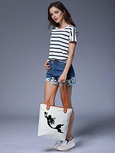 S.CHU Women's Mermaid Canvas Leather Tote Handbag Ladies Shoulder Bag Weiß