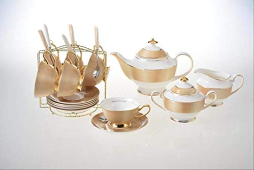 QYYDMKB Gold Bone China Kaffee Set Britisches Porzellan Tee-Set Keramikbecher Topf Zuckerdose Creamer Teekanne Party Drink 10 STÜCKE Set China Creamer