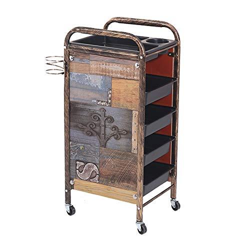 Beauty Retro Friseurwagen Gear Storage Cart 5 Ebenen Salon SPA Coloring Salon Haartrockner Halter mit 4 Schubladen für Tool Car,Brass - 5 Schublade Storage Cart
