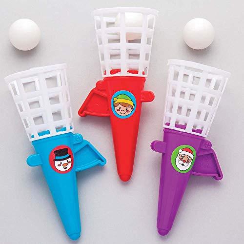 Baker ross gioco natalizio 'spara e fai canestro' per bambini, da mettere nella calza di natale e come idea regalo (confezione da 6)