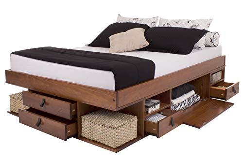 Memomad Letto Funzionale Bali - Molto Spazio di stoccaggio e cassetti, Ideale per Le Piccole camere da Letto - Legno massello e Design Esclusivo - Prezzo incl. Rete a doghe - 160x200cm, Caramello