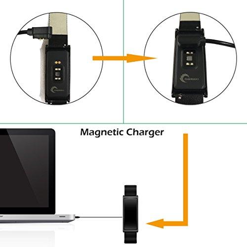 Fitness Tracker [Elegantes Lederarmband], CHEREEKI Herzfrequenzmonitor Smart Armband Fitness Armbanduhr mit Aktivitätstracker / Schrittzähler / Schlafüberwachung / Push Anruf-Benachrichtigung - Bild 3