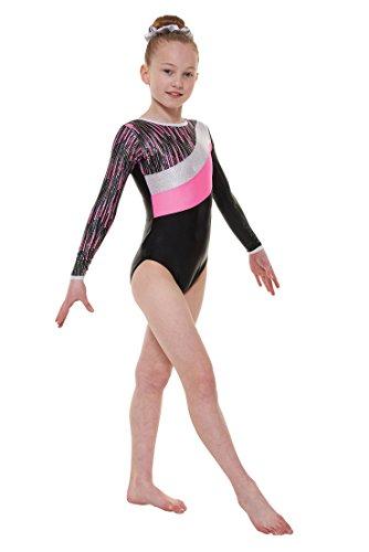 Gym44 Folie überzogen Lycra Nylon und glanz Langärmlig Gymnastik Turnanzug by Tappers & Pointers - EBENHOLZ GLANZ/ROSA KASKADE, Size 1 (approx age 6-7) (Lycra-folie)