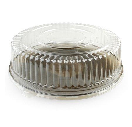 Robuste, elegante runde Kunststoff-Servierplatte mit Deckel, Sandwich-Tablett mit Deckel, Kuchenplatte mit sicherem Kuppeldeckel, Buffet-Tablett mit Deckel, 35 cm, Rauchfarben