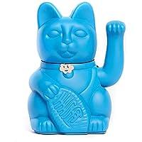 Lucky Cat. Der klassische Glücksbringer in winkender Katzengestallt oder Maneki-Neko in fröhlichen Farben. BLAU: Die Erfüllung der Träume (Seien Sie vorsichtig, was Sie fragen). 10x6x15cm
