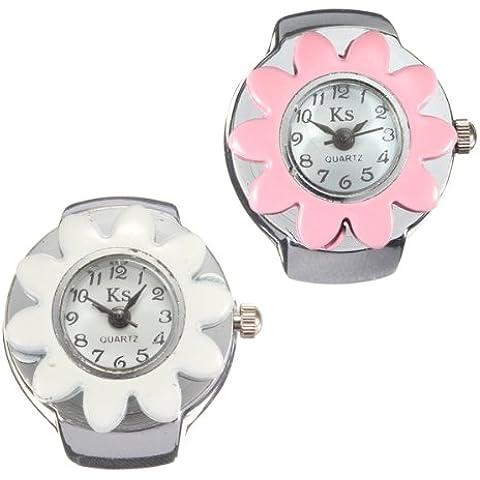 Fashion Flower Pattern dedo del reloj del anillo ajustable 2 Color.