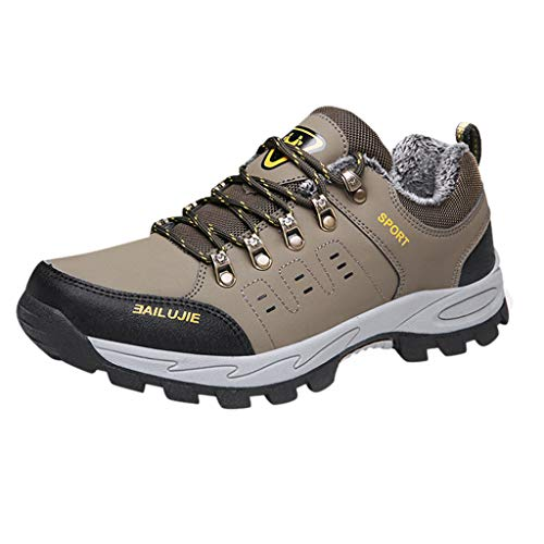 SHE.White Herren Outdoor Wanderhalbschuhe Verdickte Kletterschuhe Warm Trekking Schuhe mit Gefüttert Bequem Verschleißfest Sneaker Fitnessschuhe -