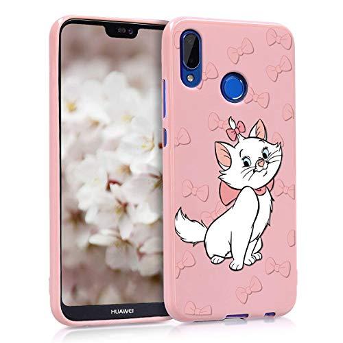 ZhuoFan Coque Huawei P20 Lite, Etui en Liquide Silicone 3D Rose avec Motif Dessin Antichoc Souple TPU Housse de Protection Case Cover Bumper Coque pour Téléphone Huawei P20Lite, Noeud Papillon Chat