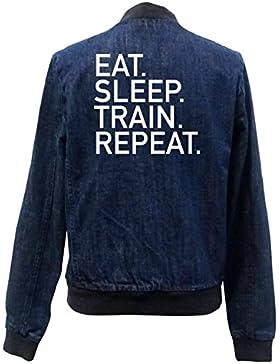 Eat Sleep Train Repeat Bomber Chaqueta Girls Jeans Certified Freak