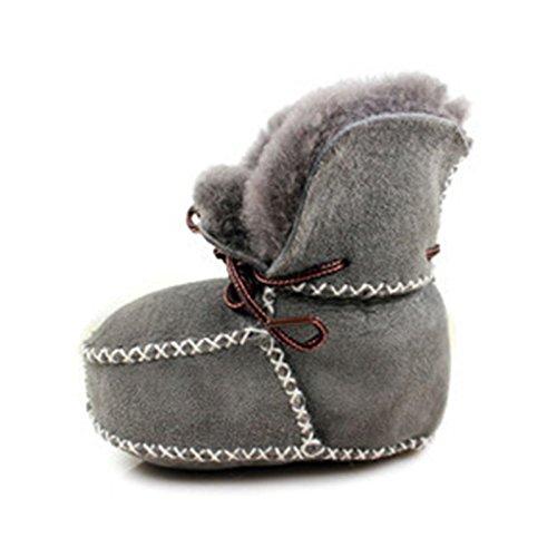 Reixus (TM) super chaud b¨¦b¨¦ fond mou Bottes de neige lac¨¦es B¨¦b¨¦ Gar?on Filles Mocassins Chaussures b¨¦b¨¦ Prewalker Bottes Camel / Gris Disponible Gris fonc¨¦