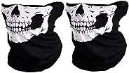 Couples Seamless Multifunctional Climb Magic Skull Winter Face Mask (2 pcs-white)