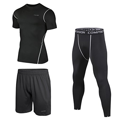 Niksa Homme 3 Pièces Vêtements de Sport Running Jogging Workout Football Ensemble de Fitness Compression Tenue de Sport Sportswear(Manches Courtes(163515)XL)