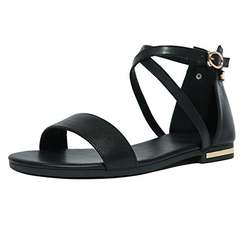 TAOFFEN Femmes Chaussures Mode Plat Orteil Ouvert Sandales De Boucle De Sangle De Cheville Noir