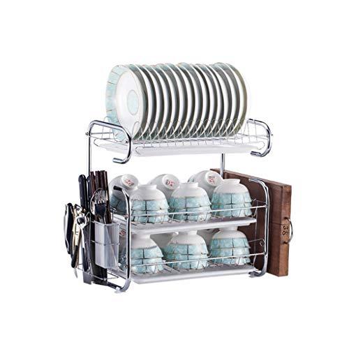 SXY-escurreplatos Estante de desagüe de Gran Capacidad, Cocina de múltiples Capas, Estante de Acero Inoxidable, Mueble de Cocina, Fregadero, Fregadero (Color : Silver)