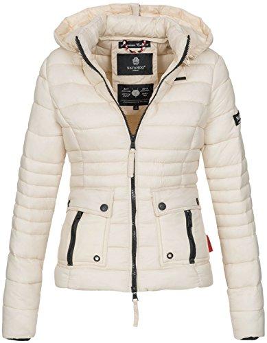 Navahoo Damen Jacke Steppjacke Übergangsjacke gesteppt Kapuze 11 Farben B602 Beige