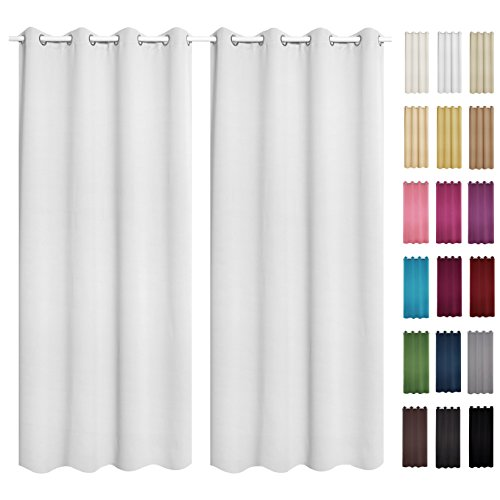 WOLTU® #488-2 2 x Gardine Vorhang blickdicht mit Ösen , 2er Set Verdunkelungsvorhang Verdunkelungsgardine , leicht schwere Vorhang Ösenschal , 135×225 cm , Weiß - 4