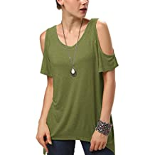 Urban GoCo Mujeres Casual Tallas Grandes Camiseta Slim Fit V Cuello Off  Shoulder Túnica Tops 3cf3bd870021