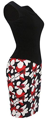 SunIfSnow - Robe spécial grossesse - Moulante - À Fleurs - Sans Manche - Femme Noir