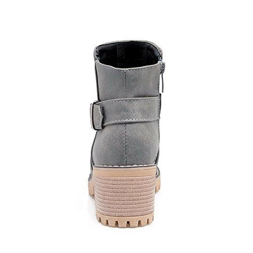 Potrebbe Colore Zip Rotonda Destro Grigi Solido Stivali In Pelle Donna Tallone Agoolar qIwt8A