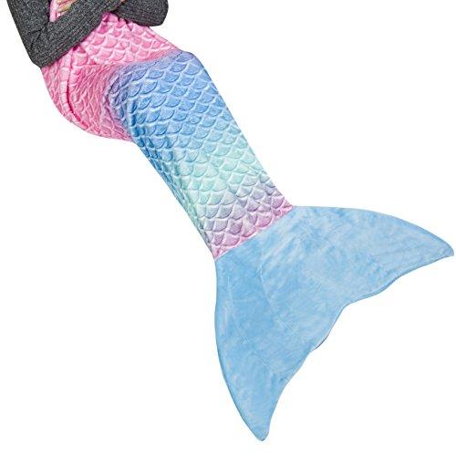 Ataya Meerjungfrau Decke für Mädchen Erwachsene FlosseKuscheldecke Glitzernde Fischschwanz Mikrofaser Flanell Fleece alle Jahreszeiten Schlafsack(Regenbogen prägen+Blau)